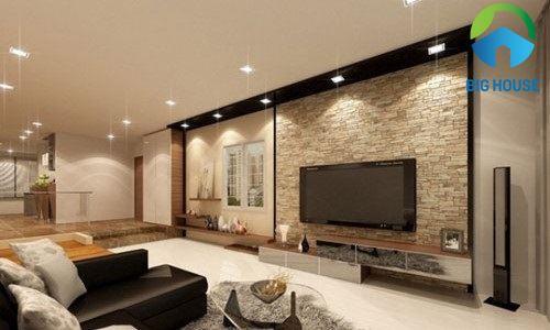 Có nên ốp gạch tường phòng khách? Hỏi đáp cùng Big House