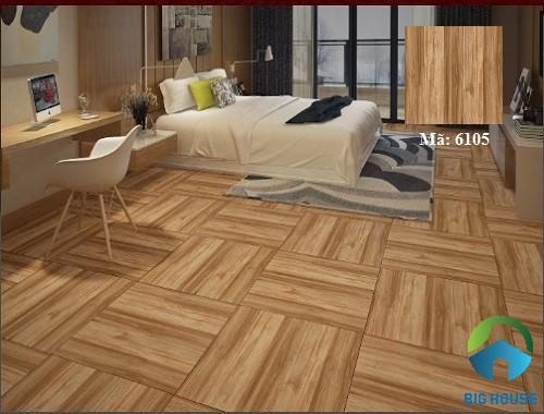 Mẫu gạch vân gỗ Tasa 6105 gam màu nâu trầm ấm