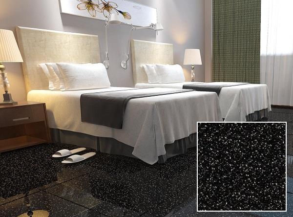 Gạch lát nền màu đen vân đá hoa cương cmc pt 68001 cho không gian phòng ngủ
