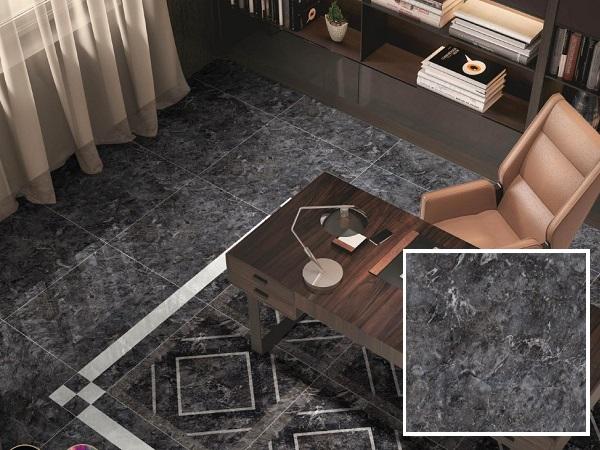 Mẫu gạch lát nền màu xám đen Prime 08771 cho không gian phòng khách hiện đại