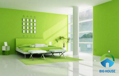 Sử dụng đồng màu gạch lát màu xanh ngọc cùng tường màu xanh