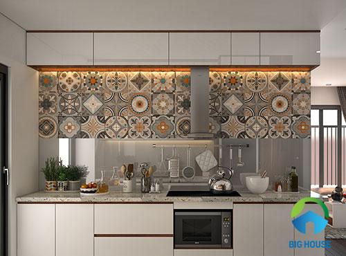 gạch hoa văn trang trí bếp gam màu đơn giản