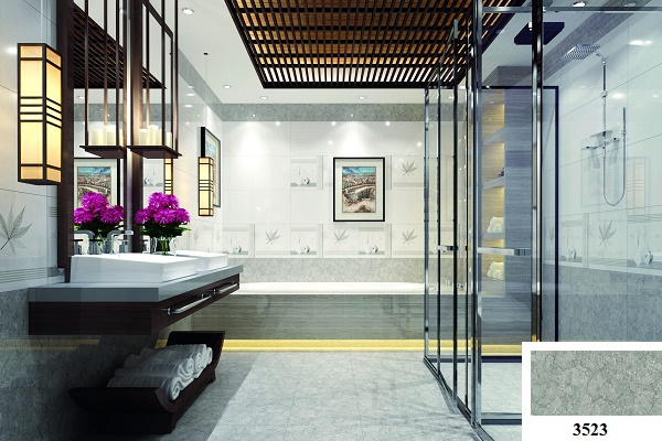 Sàn nhà nổi bật với mẫu gạch lát nền giả đá màu ghi xám