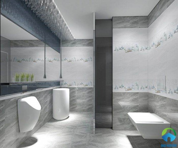 Mẫu gạch lát nền nhà vệ sinh 30x60 màu ghi đen sang trọng