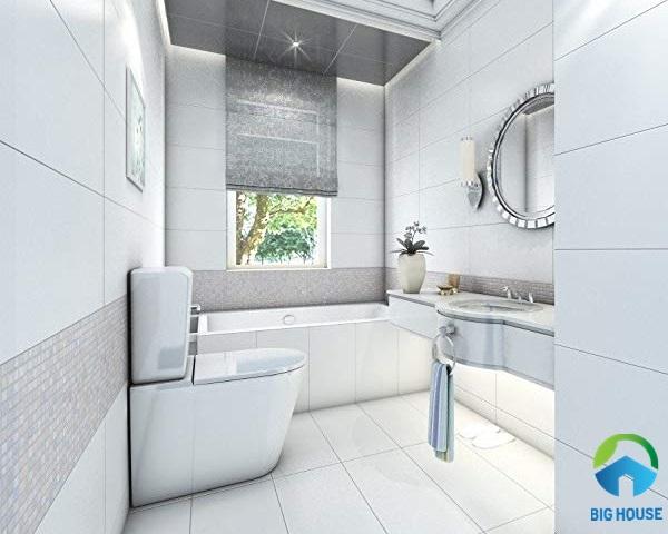 gạch lát nhà vệ sinh 30x60 màu trắng cho không gian nhà vệ sinh