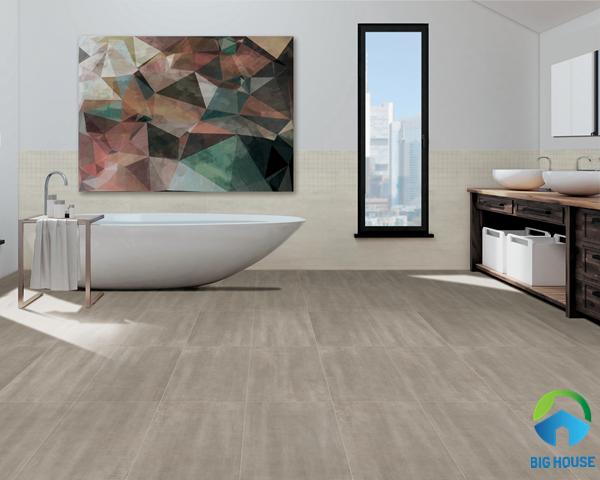 Mẫu gạch lát nhà vệ sinh 30x60 tông màu nâu trung tính đơn giản