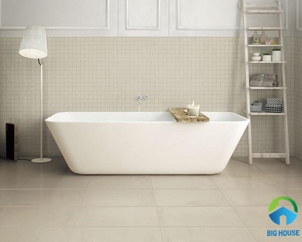 Gạch lát nền nhà vệ sinh 30x60 màu hồng nhạt với vẻ đẹp đơn giản, mộc mạc
