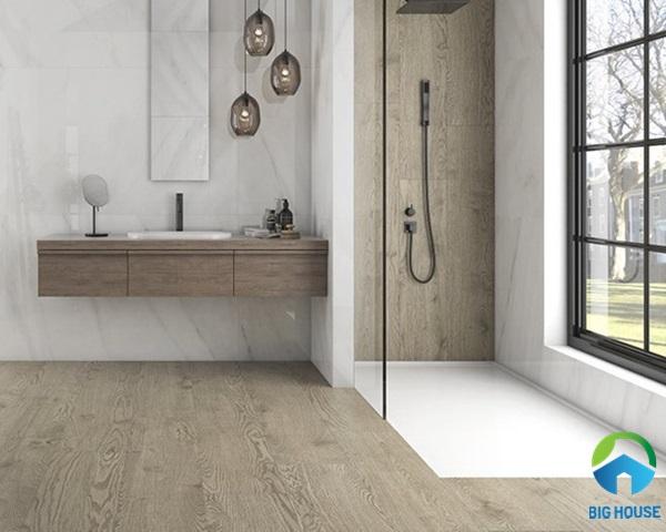 Mẫu gạch lát nền giả gỗ tông màu ấm cúng mang vẻ đẹp tự nhiên của gỗ