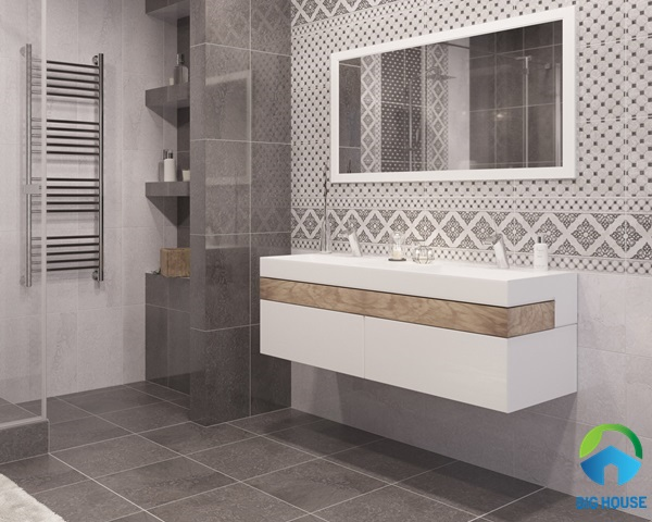 gạch lát nhà vệ sinh 30x60 màu xám đơn giản