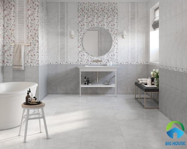 Gạch lát nhà vệ sinh 30x60 màu xám trung tính có thể phối hợp linh hoạt với rất nhiều phong cách thiết kế nội thất phòng tắm