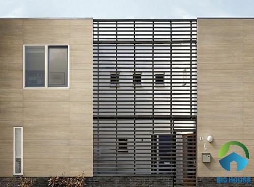 gạch vân gỗ ốp tường mặt tiền