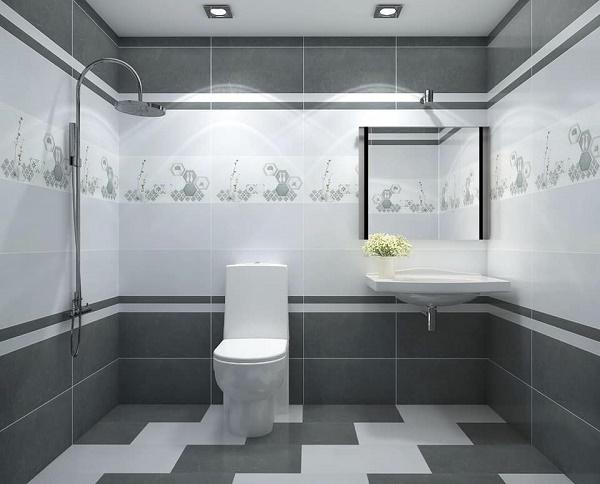 Kết hợp 2 mẫu gạch 30x60 theo kiểu zigzac cho nhà tắm thật sang trọng