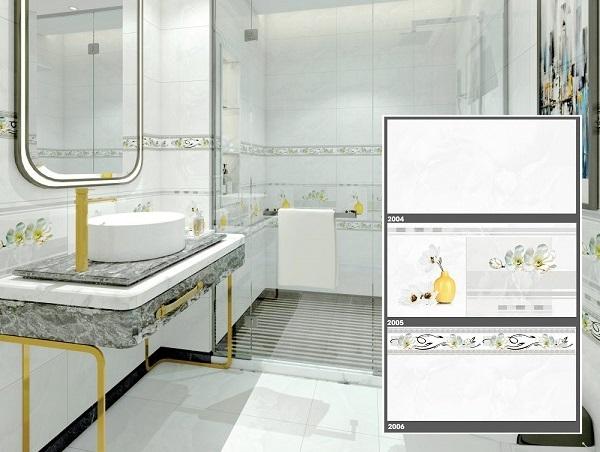 Bộ gạch ốp nhà vệ sinh2004 – 2005 – 2006 của Tasa được thiết kế điểm lọ hoa vàng sang trọng
