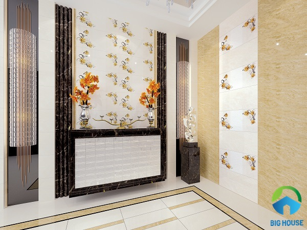 gạch ốp tường phòng khách nhà ống 4