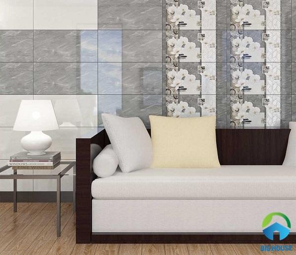 gạch ốp tường phòng khách nhà ống 6