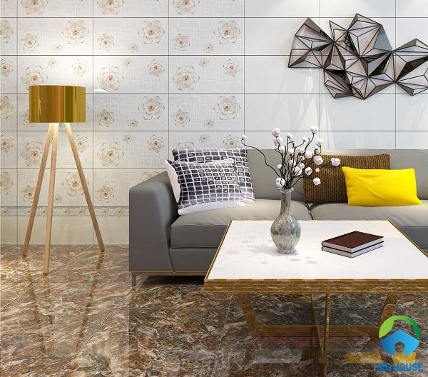 gạch ốp tường phòng khách nhà ống 7