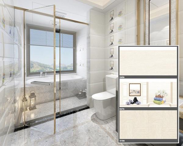 Bộ gạch ốp nhà vệ sinh Tasa màu xám mài mặt