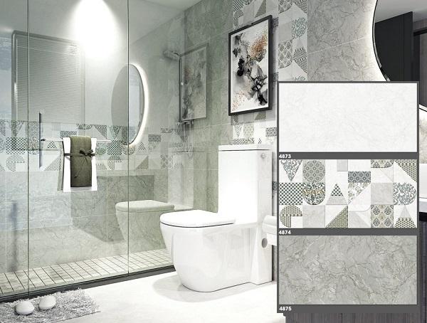 Gạch ốp nhà vệ sinh 40x80 Tasa màu xám, viên điểm họa tiết đá quý