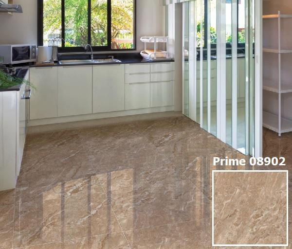 Mẫu gạch lát nền nhà bếp giả đá màu nâu vàng vô cùng sang trọng