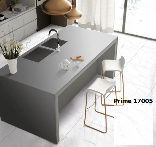 Chọn gạch lát nhà bếp màu trắng trung tính sang trọng