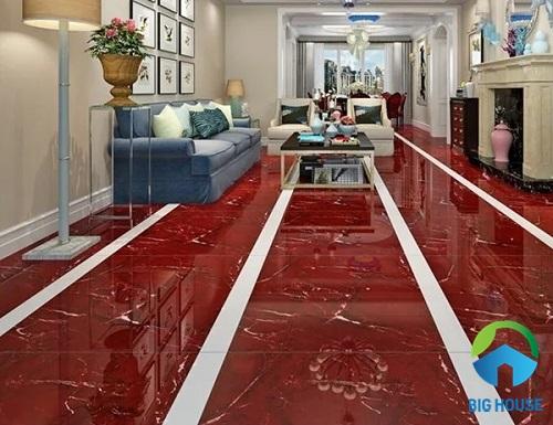 Gạch lát nền đỏ - trắng vân đá cho nền nhà thêm nổi bật hơn