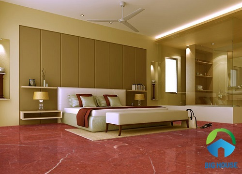 Gạch lát vân đá màu đỏ đậm cho không gian phòng ngủ