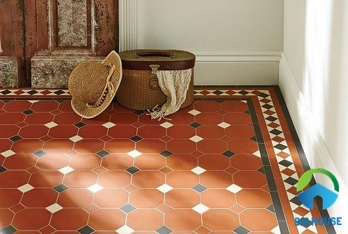 Gạch lát nền màu đỏ cam cho không gian mang phong cách vintage