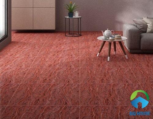 Gạch lát nền màu đỏ họa tiết vân cát chảy độc đáo và mới lạ