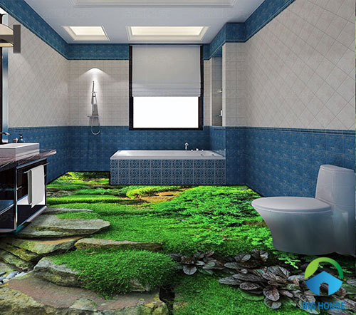gạch lát nền nhà tắm 3D 14