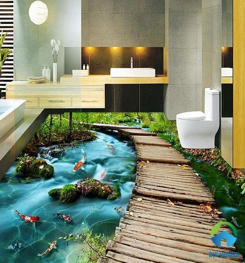 gạch lát nền nhà tắm 3D 30