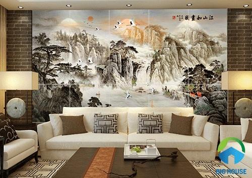 gạch tranh trang trí phòng khách