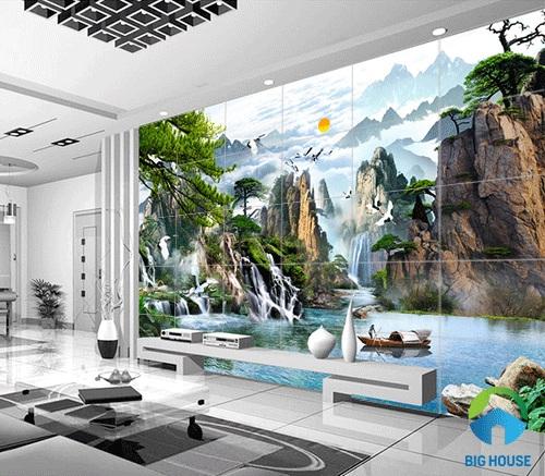 gạch tranh ốp tường phòng khách 1