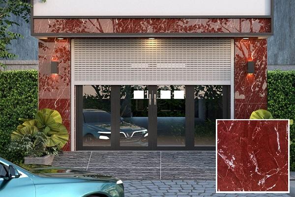 Mẫu gạch vân đá marble màu đỏ TRT 6819 ốp mặt tiền nhà ống sang trọng