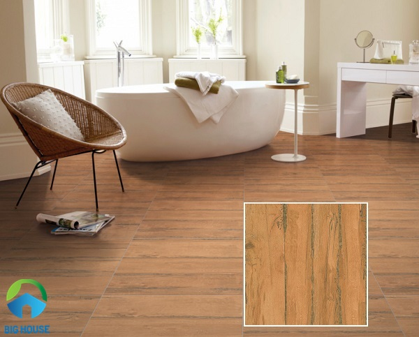 Gạch vân gỗ Prime 08264 bề mặt nhám nhẹ chống trơn hiệu quả cho phòng tắm