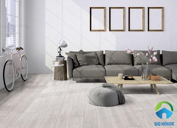 Mẫu gạch lát nền vân gỗ trắng thanh lịch, tinh tế và sang trọng