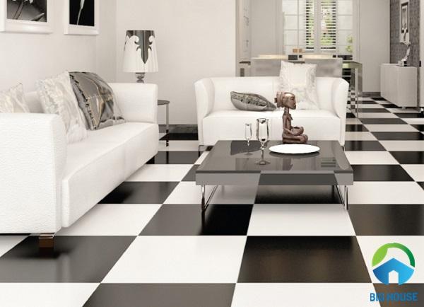 Kết hợp gạch màu trắng với gạch màu đen theo kiểu caro