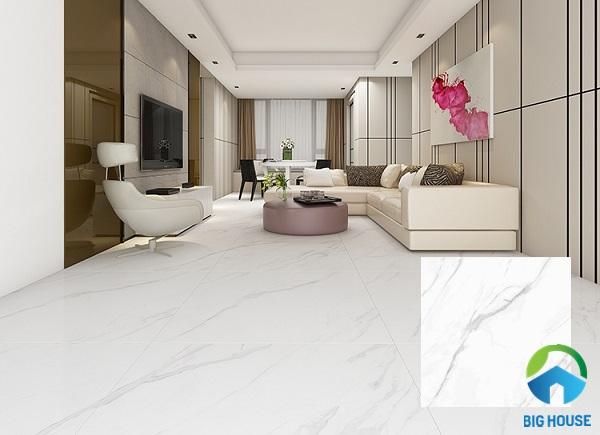 Mẫu gạch màu trắng vân đá Hoàn Mỹ 33402