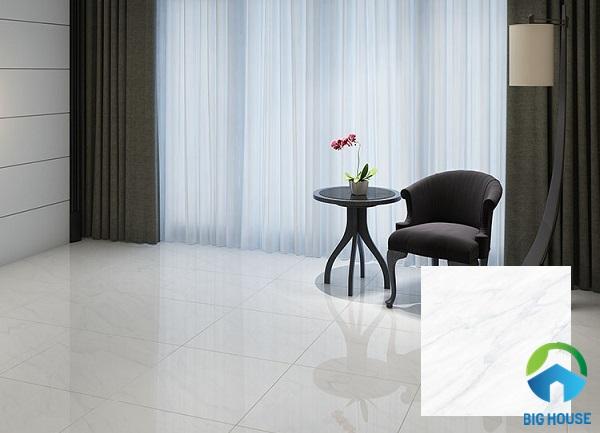 Gạch Hoàn Mỹ 7086 màu trắng với thiết kế vân mây cực tự nhiên