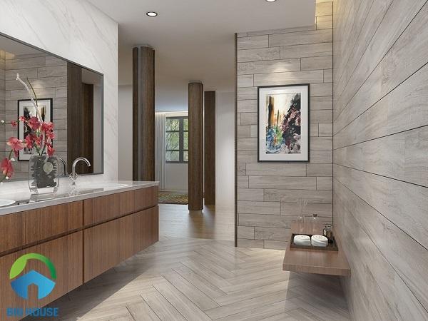 Mẫu gạch Vitto 9505 được sử dụng để ốp tường và lát nền nhà tắm
