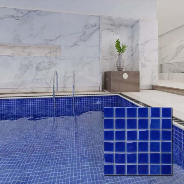 Mẫu gạch mosaic màu xanh nước biển đậm