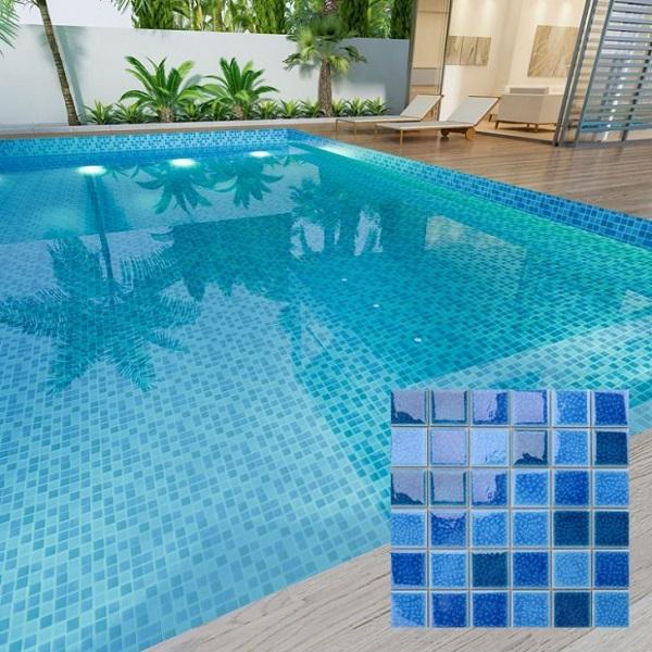 Mẫu gạch mosaic bể bơi màu xanh dương