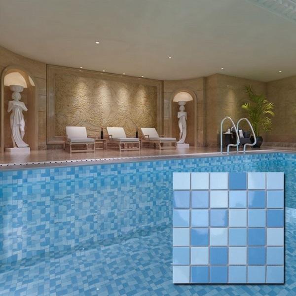 Mẫu gạch mosaic với tông màu xanh nhạt