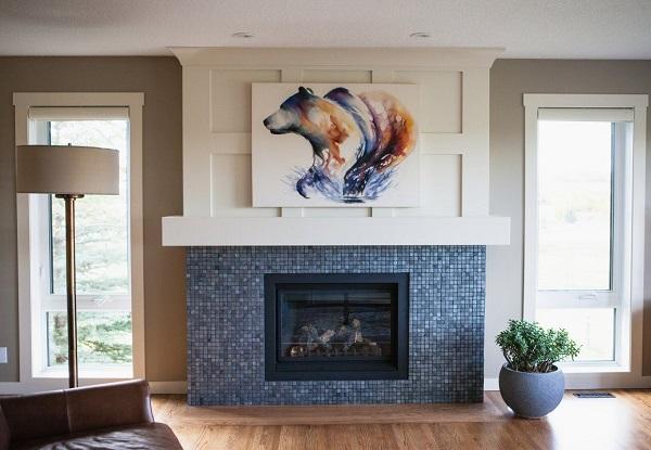 Mẫu gạch mosaic màu xanh cho không gian phòng khách