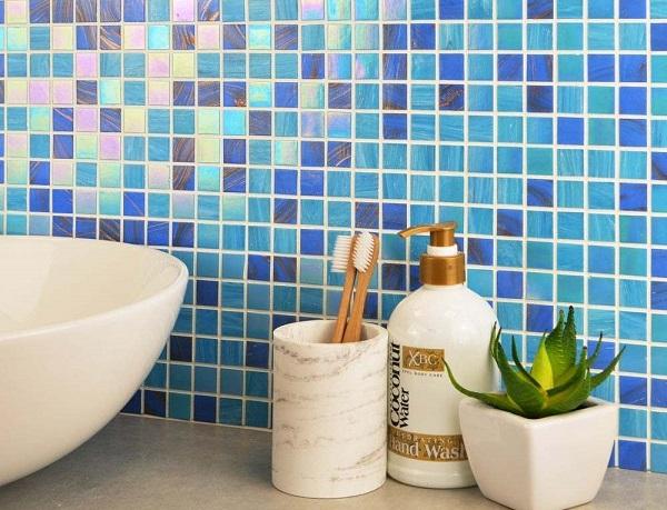 Gạch mosaic gốm màu xanh hình vuông cổ điển
