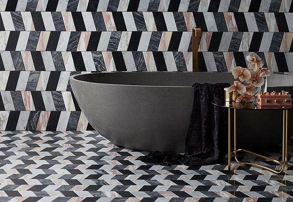 Gạch mosaic họa tiết hình thang ốp lát phòng tắm