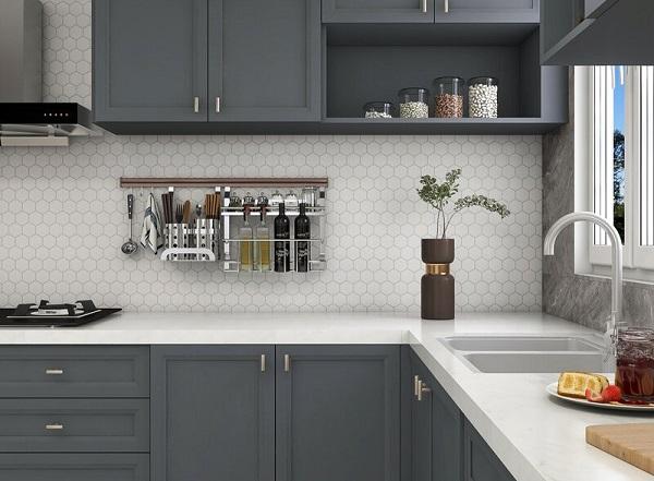 gạch mosaic 6 cạnh ốp phòng bếp
