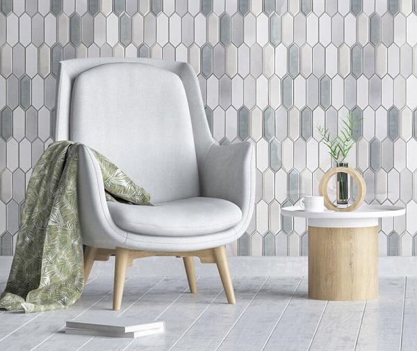 gạch mosaic lục giác ốp phòng khách