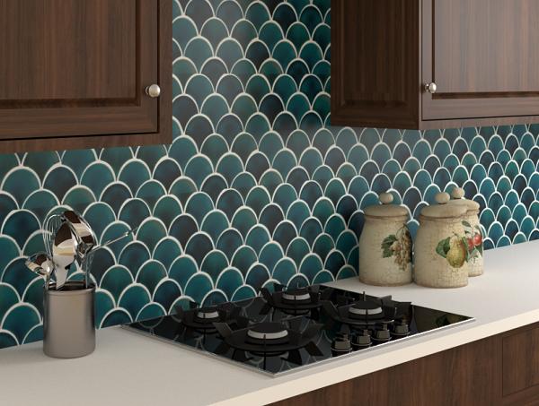 gạch mosaic vảy cá màu xanh lục