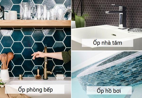 ứng dụng gạch mosaic lục giác