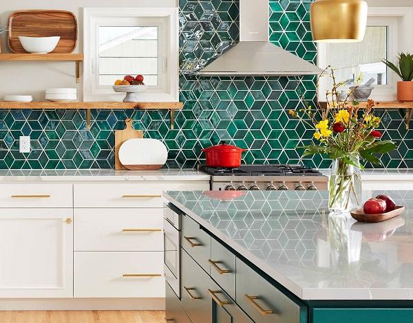 gạch ốp bếp màu xanh ngọc lục bảo đẹp lộng lẫy